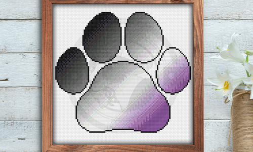 [CROSS STITCH PATTERN] Ace Pride Paw Print