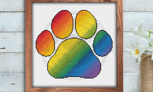 [CROSS STITCH PATTERN] Pride Paw Print