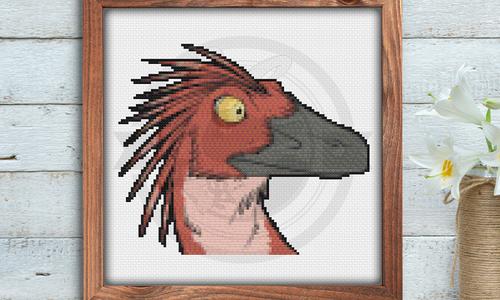 [CROSS STITCH PATTERN] Red Raptor