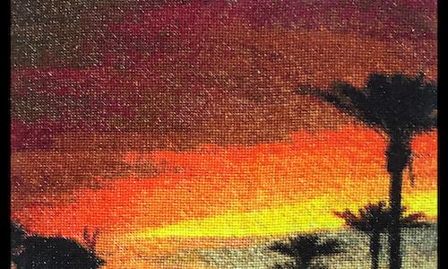 Orange Sunset Cross Stitch Pattern