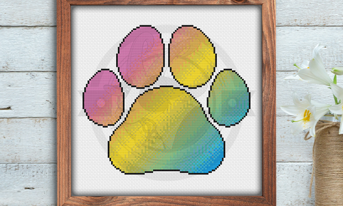 [CROSS STITCH PATTERN] Pan Pride Paw Print