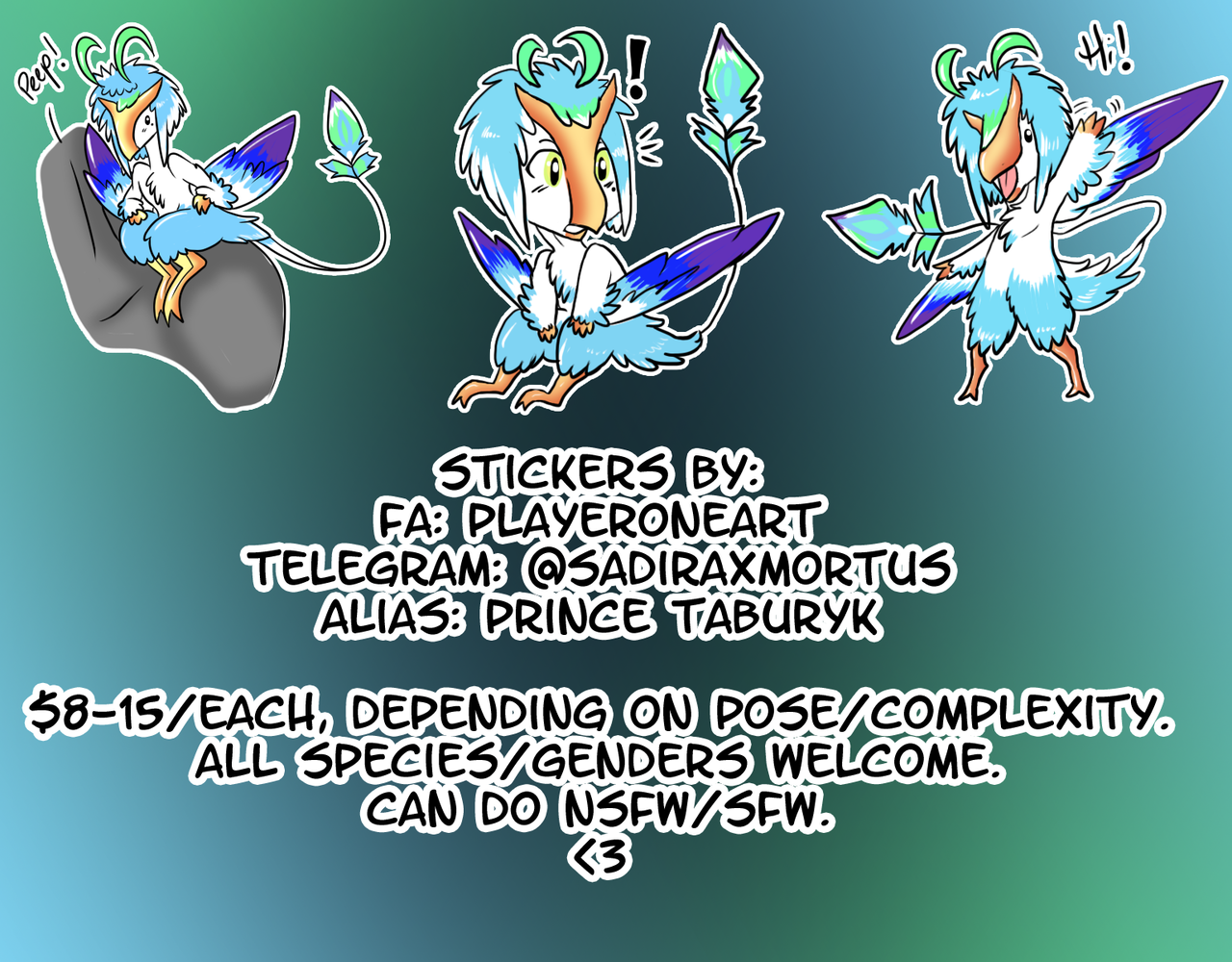 Stickers (Telegram) by PlayerOneArt - Commiss io
